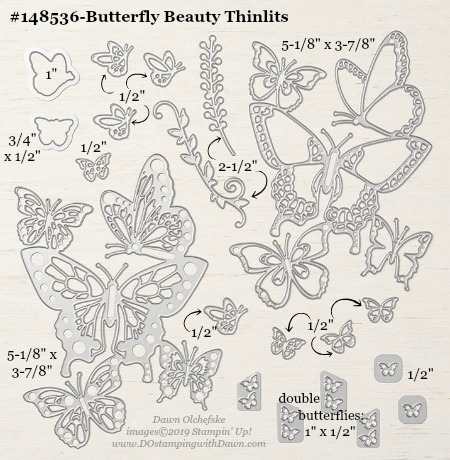 Stampin' Up! Butterfly Beauty Thinlit Measurements #DOstamping #stampinup #ButterflyBeauty #bigshot #cardmaking #HowdSheDOthat #papercrafting