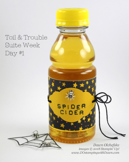 Stampin' Up! Toil & Trouble Suite Week, Day#1 Spider Cider from Dawn Olchefske #dostamping  #stampinup #handmade #cardmaking #stamping #diy #papercrafting #halloween #packagingideas #spidercider