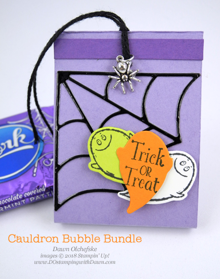 Stampin' Up! Toil & Trouble Suite Week -Day 5 Double Treats from Dawn Olchefske #dostamping  #stampinup #handmade #cardmaking #stamping #diy #papercrafting #halloween #packagingideas #takeouttreatbox