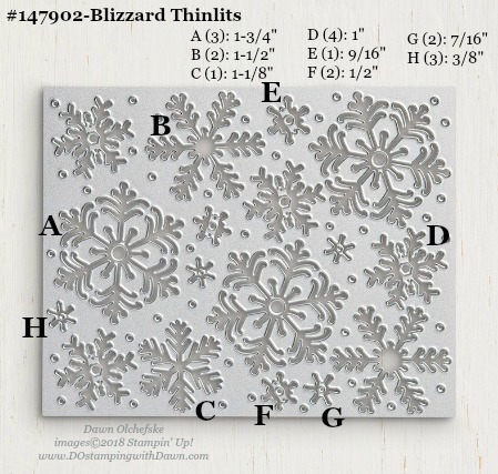 Stampin' Up! Blizzard Thinlits Dies sizes shared by Dawn Olchefske #dostamping #stampinup #framelits #thinlits #bigshot
