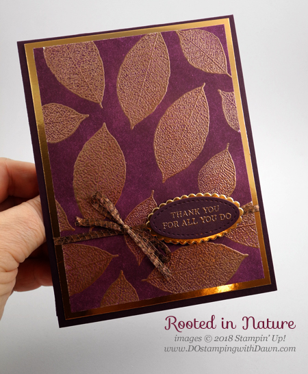 Stampin' Up! Rooted in Nature emboss resist card shared by Dawn Olchefske #dostamping  #stampinup #handmade #cardmaking #stamping #diy #rubberstamping #papercrafting #thankyoucard #rootedinnature