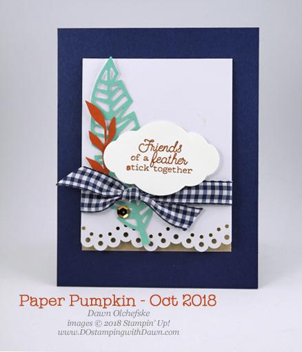 Friends of a Feather October 2018 Paper Pumpkin Kit ideas by Dawn Olchefske #stampinup #paperpumpkin #cardmaking #cardkit #rubberstamping #diy #friendsofafeather