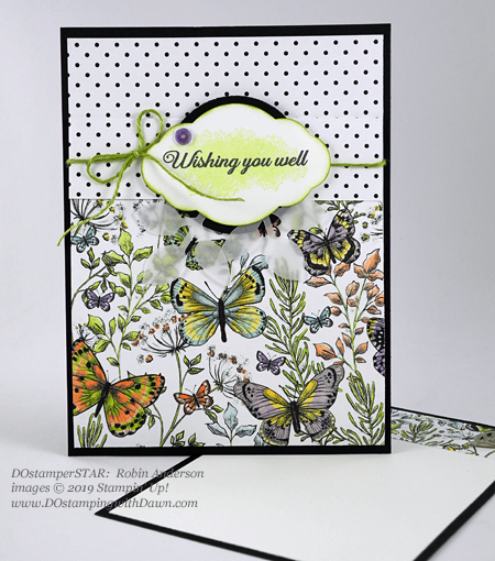 DOstamperSTARS Sale-a-Bration Lasting Lily stamp set and Botanical Butterfly Designer Series Paper swap card shared by Dawn Olchefske #dostamping #stampinup #handmade #cardmaking #stamping #papercrafting #dostamperstars (Robin Anderson)