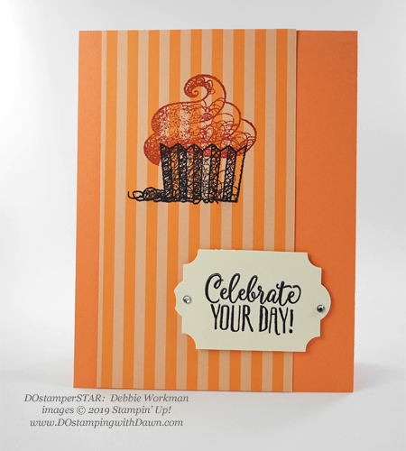 DOstamperSTARS Sale-a-Bration Hello Cupcake swap card shared by Dawn Olchefske #dostamping #stampinup #handmade #cardmaking #stamping #papercrafting #dostamperstars (Debbie Workman)