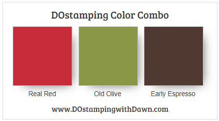 Stampin' Up! color combo Real Red, Old Olive, Early Espresso from Dawn Olchefske #dostamping #howdshedothat #stampinup #colorcombo