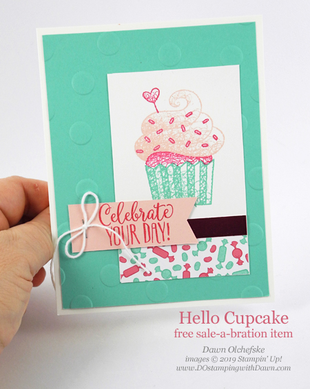 Stampin' Up! Sale-a-bration Hello Cupcake card by Dawn Olchefske #dostamping #howdshedothat #stampinup #handmade #cardmaking #stamping #papercrafting #birthdaycards