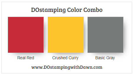 Stampin' Up! color combo Real Red, Crushed Curry, Basic Gray from Dawn Olchefske #dostamping #stampinup #colorcombo #classicgarage