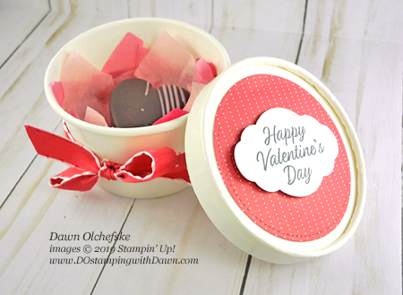 Stampin' Up! Valentine Sweet Cups by Dawn Olchefske #dostamping #howdshedothat #stampinup #handmade #stamping #diy #papercrafting #valentinetreats