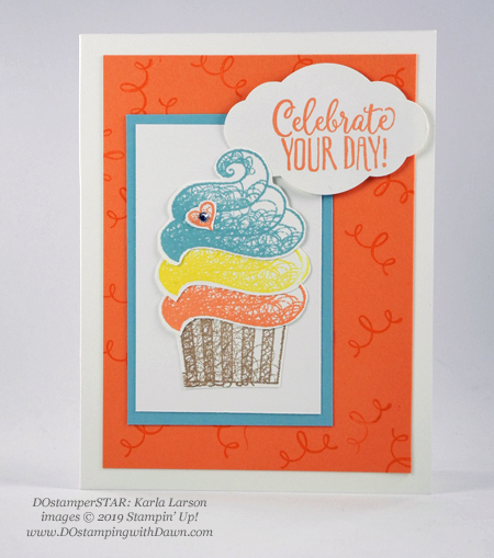 DOstamperSTARS Sale-a-Bration Hello Cupcake swap card shared by Dawn Olchefske #dostamping #stampinup #handmade #cardmaking #stamping #papercrafting #dostamperstars (Karla Larson)