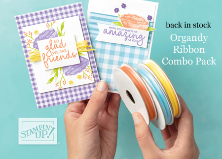 Sale-a-Bration Organdy Ribbon combo pack is back in stock...while supplies last #dostamping #stampinup #saleabration
