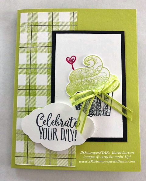 Stampin' Up! Sale-A-Bration Hello Cupcake card shared by Dawn Olchefske #dostamping #howdshedothat #stampinup #handmade #cardmaking #stamping #papercrafting (Karla Larson)