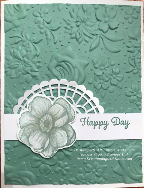 Stampin' Up! Sale-A-Bration Country Floral Dynamic Textured Impressions Embossing Folder, Pearlized Doily and Painted Season card shared by Dawn Olchefske #dostamping #howdshedothat #stampinup #handmade #cardmaking #stamping #papercrafting (Nicole Winkelman)