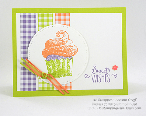Sale-a-Bration Hello Cupcakes shared by Dawn Olchefske #dostamping #stampinup #handmade #cardmaking #stamping #papercrafting #hellocupcake #birthdaycards-LeeAnnGreff