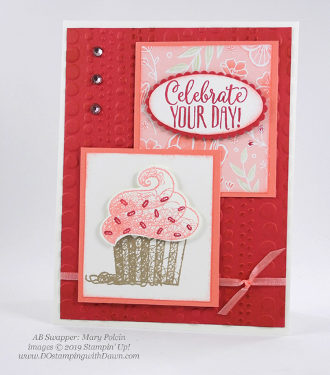 Sale-a-Bration Hello Cupcakes shared by Dawn Olchefske #dostamping #stampinup #handmade #cardmaking #stamping #papercrafting #hellocupcake #birthdaycards-MaryPolcin