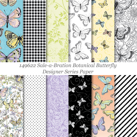 149622 Botanical Butterfly Designer Series Paper - FREE during Sale-a-Bration with $50 order #dostamping #stampinup #papercrafting #cardmaking | http://bit.ly/shopwithdawn