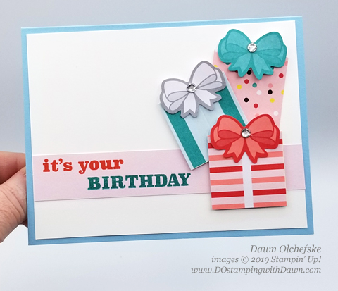 Easy Presents Card | Poppin' Birthday March 2019 Paper Pumpkin Kit ideas by Dawn Olchefske #stampinup #paperpumpkin #cardmaking #cardkit #rubberstamping #diy #PoppinBirthday