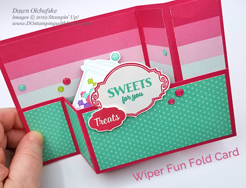Wiper Fun Fold Card using Stampin' Up! How Sweet it is Suite, from Dawn Olchefske. #dostamping #HowdSheDOthat #stampinup #handmade #cardmaking #stamping #papercrafting #funfold #wipercard