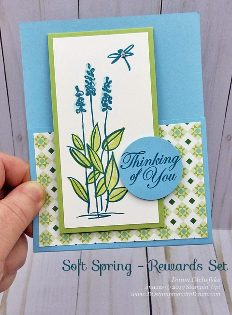 Check out the new Stampin' Rewards set, Soft Spring, along with Garden Lane Designer Series Paper.  From Dawn Olchefske #dostamping #howdshedothat #stampinup #handmade #cardmaking #stamping #papercrafting  #thinkingofyou