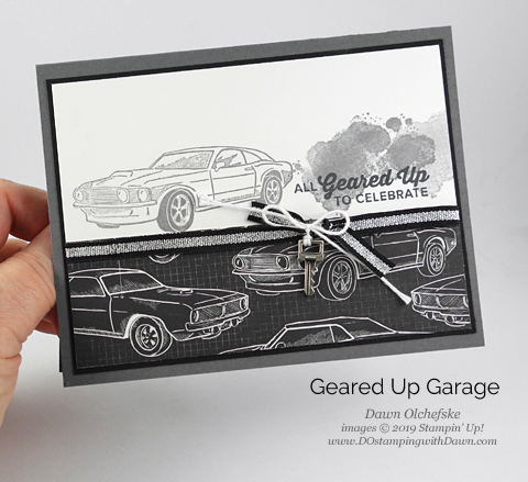 Stampin' Up! Geared Up Garage card by Dawn Olchefske #dostamping #howdshedothat #stampinup #handmade #cardmaking #stamping #papercrafting #masculinecards #birthdaycards