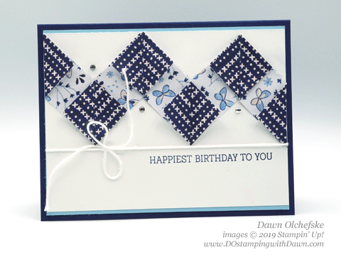 Chevron Fold Technique using Stampin' Up! Needlepoint Nook Designer Series Paper from Dawn Olchefske #dostamping #howdshedothat #stampinup #handmade #cardmaking #stamping #papercrafting #chevronfolding #birthdaycards