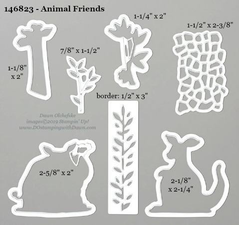 Stampin' Up! Animal Friends Dies sizes shared by Dawn Olchefske #dostamping #stampinup #papercrafting #diecutting #stampindies