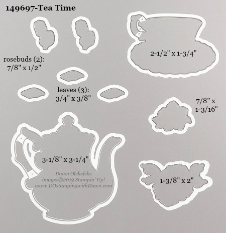 Stampin' Up! Tea Time Dies sizes shared by Dawn Olchefske #dostamping #stampinup #papercrafting #diecutting #stampindies