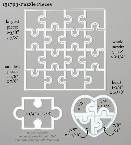 Stampin' Up! Puzzle Pieces Dies sizes shared by Dawn Olchefske #dostamping #stampinup #papercrafting #diecutting #stampindies