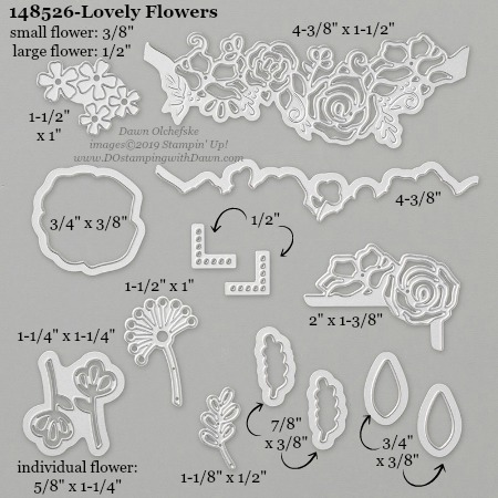 Stampin' Up! Lovely Flowers Dies sizes shared by Dawn Olchefske #dostamping #stampinup #papercrafting #diecutting #stampindies