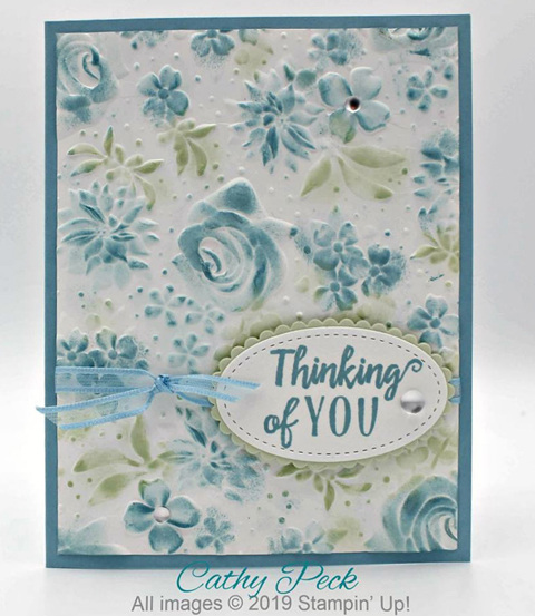 Stampin' Up! Sale-A-Bration Country Floral Dynamic Textured Impressions Embossing Folder card shared by Dawn Olchefske #dostamping #howdshedothat #stampinup #handmade #cardmaking #stamping #papercrafting (Cathy Peck)