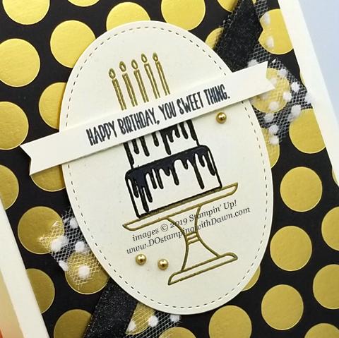 Stampin' Up! Piece of Cake Bundle card shared by Dawn Olchefske #dostamping #howdshedothat #stampinup #handmade #cardmaking #stamping #papercrafting#birthdaycards