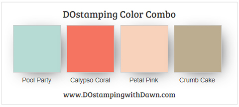 Stampin' Up! Color Combo Pool Party, Calypso Coral, Petal Pink, Crumb Cake by Dawn Olchefske #dostamping #stampinup #colorcombo