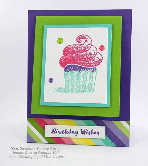 Sale-a-Bration Hello Cupcakes shared by Dawn Olchefske #dostamping #stampinup #handmade #cardmaking #stamping #papercrafting #hellocupcake #birthdaycards-TammyNelson
