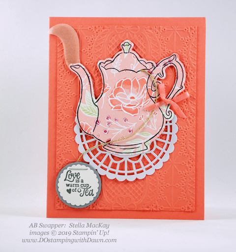 Stampin' Up! Tea Together stamp set and coordinating Sale-a-Bration Tea Time Framelit Dies shared by Dawn Olchefske #dostamping #howdshedothat #stampinup #handmade #cardmaking #stamping #papercrafting (Stella MacKay)
