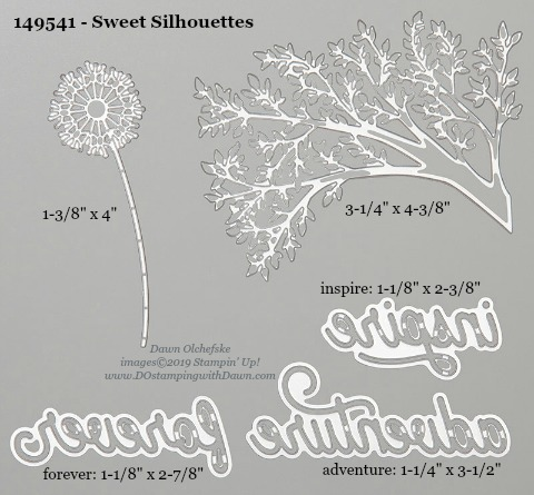 Stampin' Up! Sweet Silhouettes Dies sizes shared by Dawn Olchefske #dostamping #stampinup #papercrafting #diecutting #stampindies