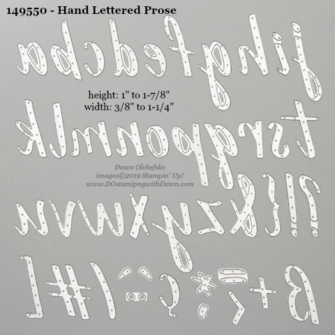 Stampin' Up! Hand Lettered Prose Dies sizes shared by Dawn Olchefske #dostamping #stampinup #papercrafting #diecutting #stampindies