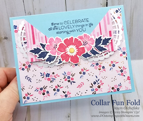 Everything is Rosy Product Medley Collar Fun Fold card shared by Dawn Olchefske #dostamping #howdshedothat #stampinup  #cardmaking #stamping #papercrafting, #DOswts314 #funfold #dostamperstars