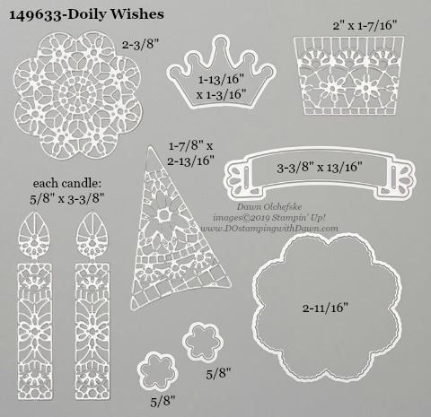 Stampin' Up! Doily Wishes Dies sizes shared by Dawn Olchefske #dostamping #stampinup #papercrafting #diecutting #stampindies