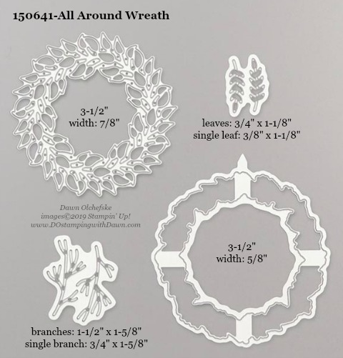 Stampin' Up! Holiday Catalog All Around Wreath Die sizes shared by Dawn Olchefske #dostamping  #stampinup #handmade #cardmaking #stamping #diy #rubberstamping #papercrafting #dies
