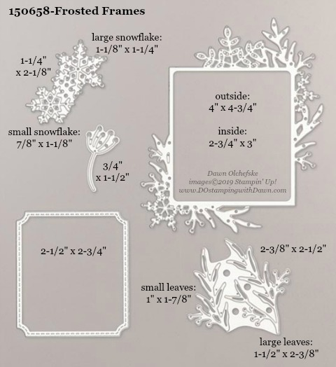 Stampin' Up! Holiday Catalog Frosted Frames Die sizes shared by Dawn Olchefske #dostamping  #stampinup #handmade #cardmaking #stamping #diy #rubberstamping #papercrafting #dies