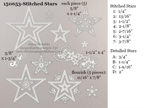 Stampin' Up! Holiday Catalog Stitched Stars Die sizes shared by Dawn Olchefske #dostamping  #stampinup #handmade #cardmaking #stamping #diy #rubberstamping #papercrafting #dies