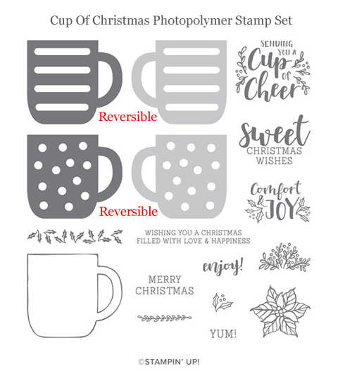 NEW Stampin' Up! Cup of Christmas Reversibles Stamp Set