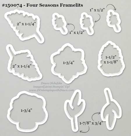 Stampin' Up! Four Seasons Framelit Dies measurements shared by Dawn Olchefske #dostamping #howdshedothat #stampinup #handmade #cardmaking #stamping #papercrafting