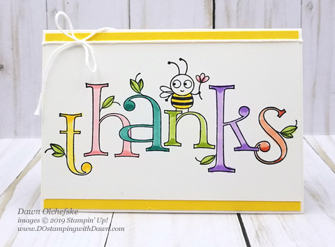 "Cheerful ""Bee Thankful"" Note Card, colored with Stampin' Blends by Dawn Olchefske #dostamping #howdshedothat #stampinup #handmade #cardmaking #stamping #papercrafting #stampinblends #thankyoucards"