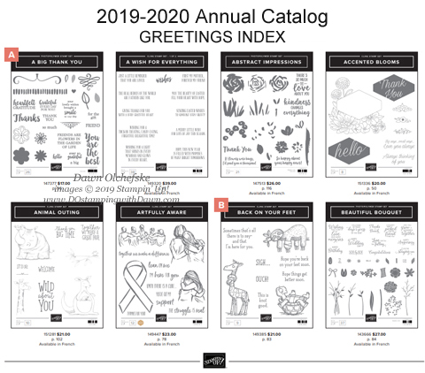 Are you missing the 2019-2020 Annual Catalog Stamp Set Greetings Index?  Here's a PDF version you can keep with your catalog! #dostamping #stampinup #greetingsindex