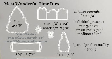Stampin' Up! Holiday Catalog Most Wonderful Time Die sizes shared by Dawn Olchefske #dostamping  #stampinup #handmade #cardmaking #stamping #diy #rubberstamping #papercrafting #dies