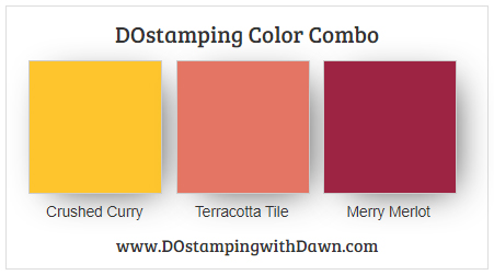 Stampin' Up! color combo Crushed Curry, Terracotta Tile, Merry Merlot from Dawn Olchefske #dostamping #stampinup #colorcombo