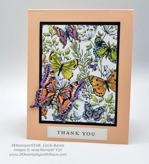 DOstamperSTARS share their creations!   #dostamping  #stampinup #handmade #cardmaking #stamping #papercrafting#DOstamperSTARS (Linda Bareis - SAB Botanical Butterfly DSP)