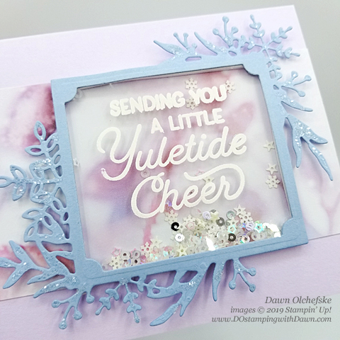 Fun & Easy Shaker card using Stampin' Up!'s Frosted Foliage Bundle from Dawn Olchefske for Stamping with the STARS Inspiration #DOswts325 #dostamping #howdshedothat #stampinup #handmade #cardmaking #stamping #papercrafting  #dostamperstars