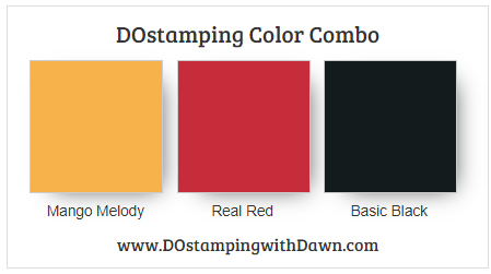 Stampin' Up! color combo Mango Melody, Real Red, Basic Black from Dawn Olchefske #dostamping #stampinup #colorcombo