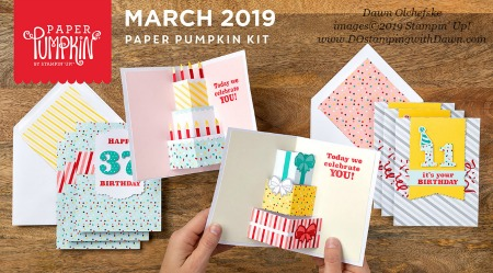 Poppin' Birthday March 2019 Paper Pumpkin Kit ideas by Dawn Olchefske #stampinup #paperpumpkin #cardmaking #cardkit #rubberstamping #diy #PoppinBirthday